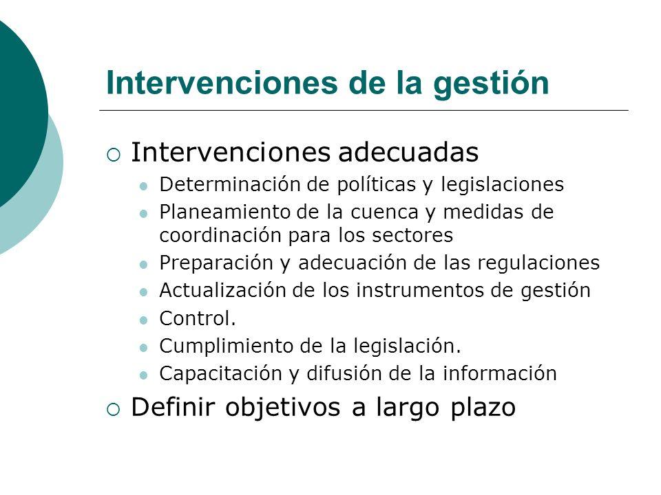 Intervenciones de la gestión