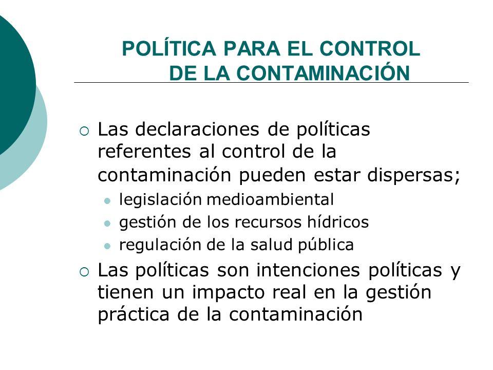 POLÍTICA PARA EL CONTROL DE LA CONTAMINACIÓN