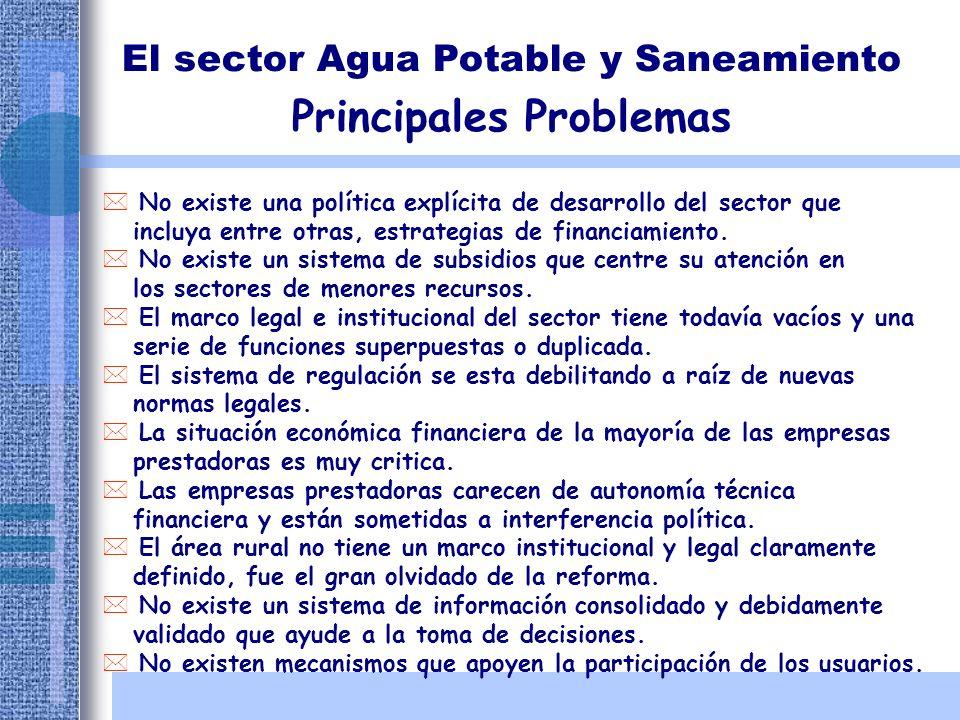 El sector Agua Potable y Saneamiento Principales Problemas