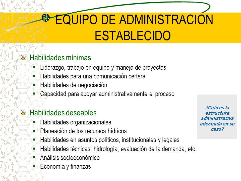 EQUIPO DE ADMINISTRACION ESTABLECIDO