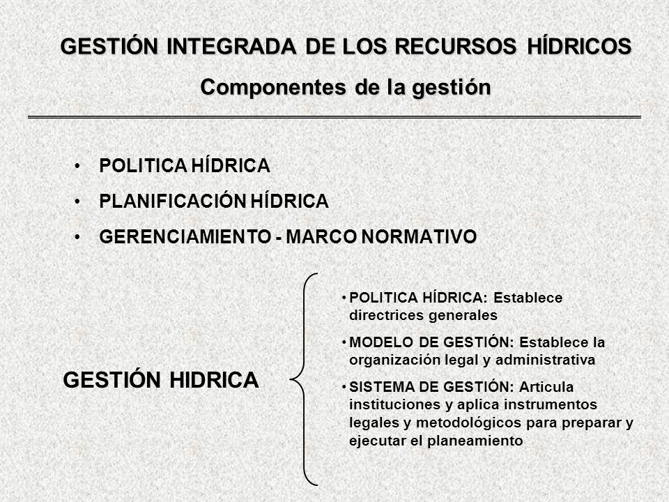GESTIÓN INTEGRADA DE LOS RECURSOS HÍDRICOS Componentes de la gestión