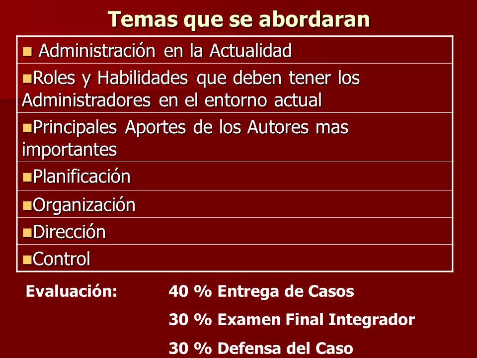 Temas que se abordaran Administración en la Actualidad