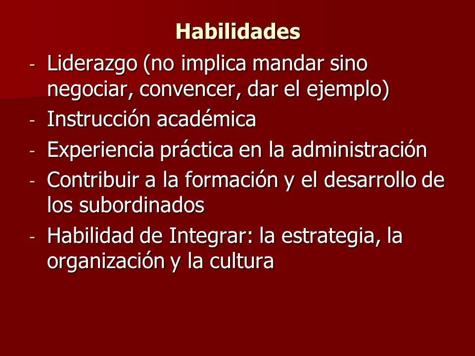 Habilidades Liderazgo (no implica mandar sino negociar, convencer, dar el ejemplo) Instrucción académica.