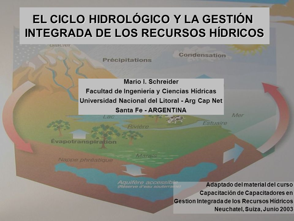 EL CICLO HIDROLÓGICO Y LA GESTIÓN INTEGRADA DE LOS RECURSOS HÍDRICOS