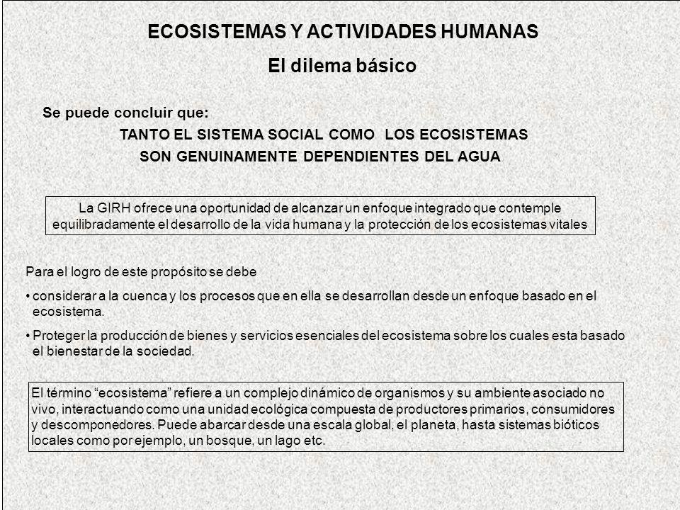 ECOSISTEMAS Y ACTIVIDADES HUMANAS El dilema básico