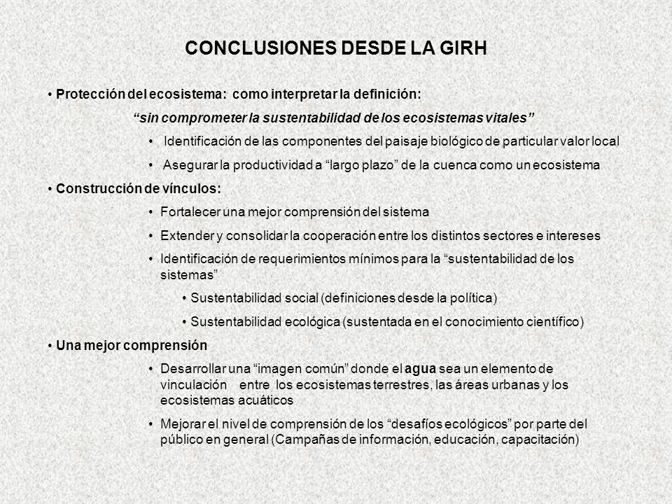 CONCLUSIONES DESDE LA GIRH