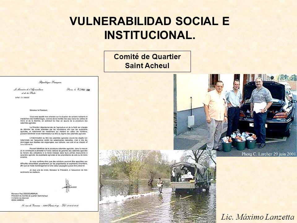 VULNERABILIDAD SOCIAL E INSTITUCIONAL. Comité de Quartier Saint Acheul
