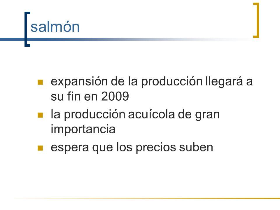 salmón expansión de la producción llegará a su fin en 2009