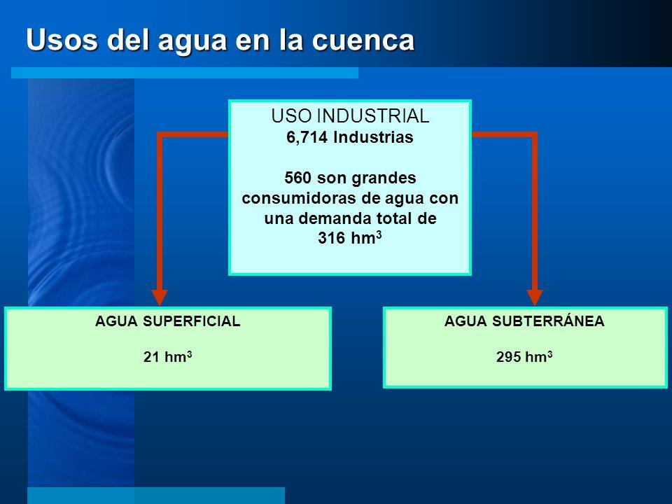 560 son grandes consumidoras de agua con una demanda total de