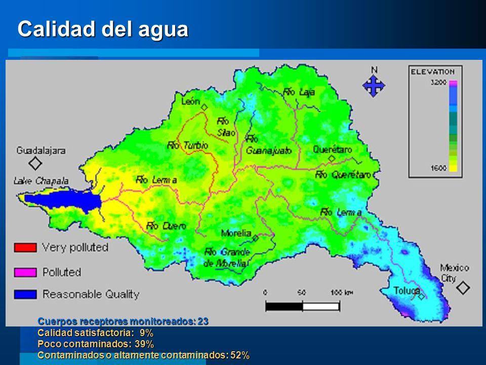 Calidad del agua A nivel de cuenca la disponibilidad de agua subterránea es negativa en más de 600 Mm3/año.