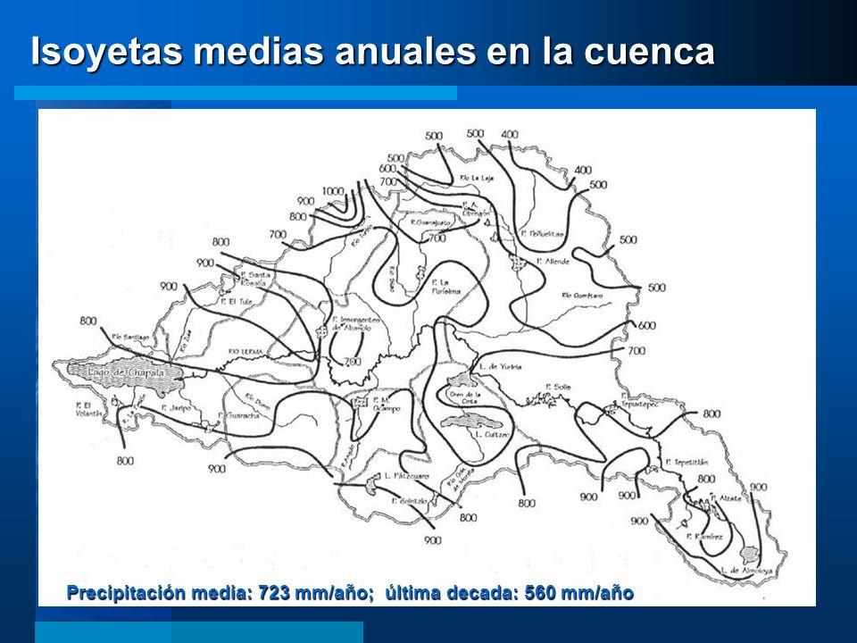 Isoyetas medias anuales en la cuenca