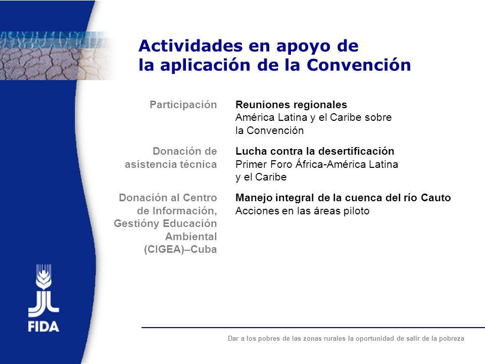 Actividades en apoyo de la aplicación de la Convención