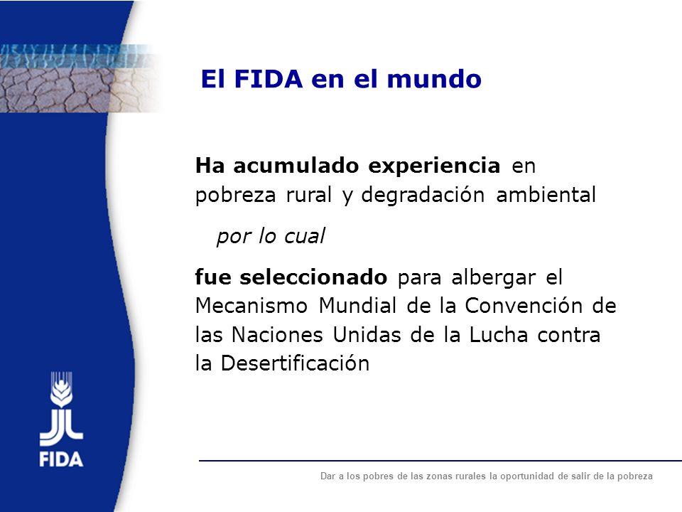 El FIDA en el mundo Ha acumulado experiencia en pobreza rural y degradación ambiental. por lo cual.