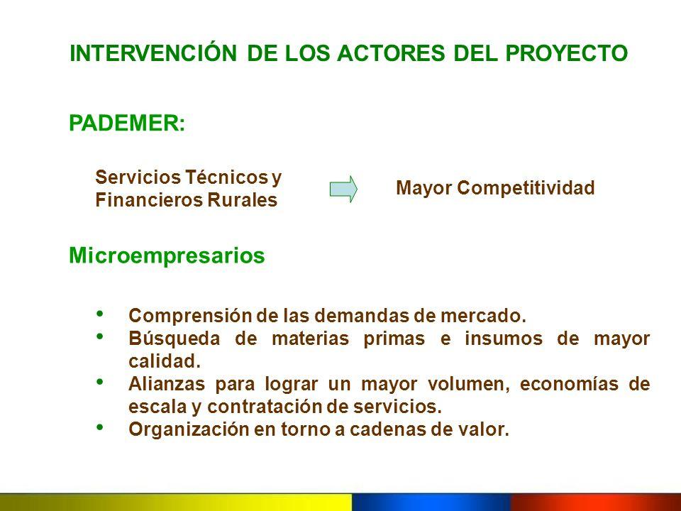 INTERVENCIÓN DE LOS ACTORES DEL PROYECTO