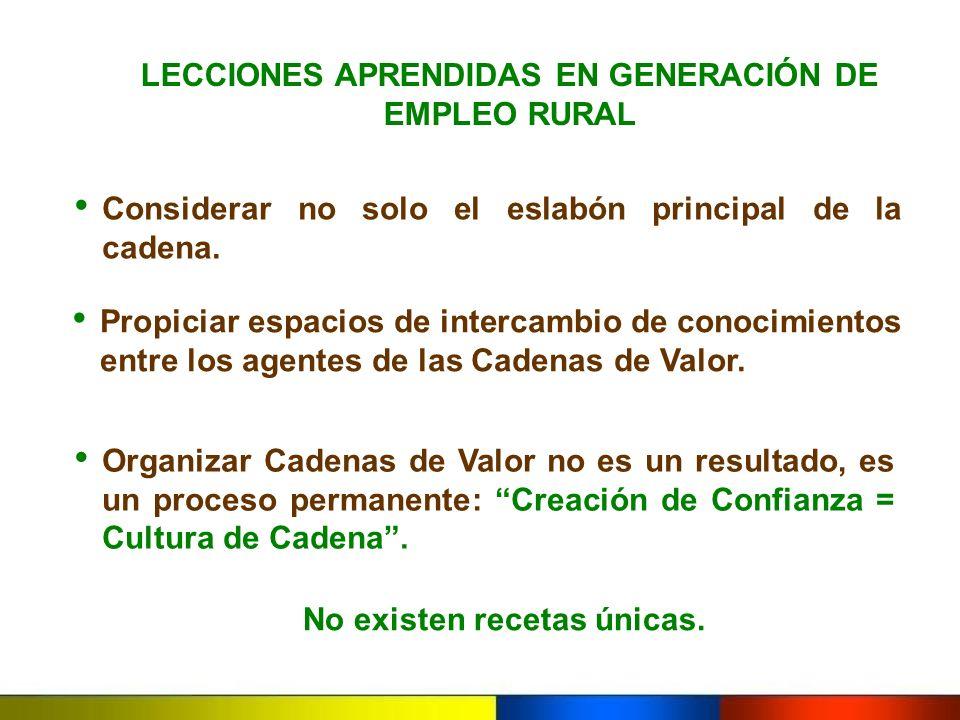 LECCIONES APRENDIDAS EN GENERACIÓN DE EMPLEO RURAL