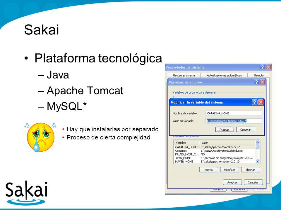 Sakai Plataforma tecnológica Java Apache Tomcat MySQL*