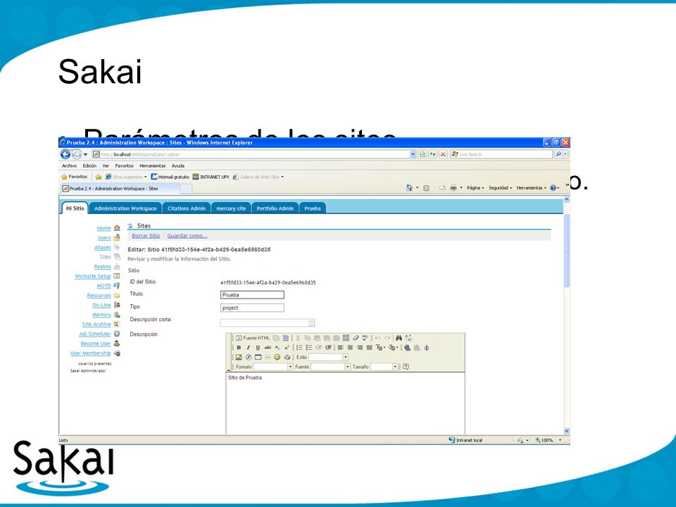 Sakai Parámetros de los sites