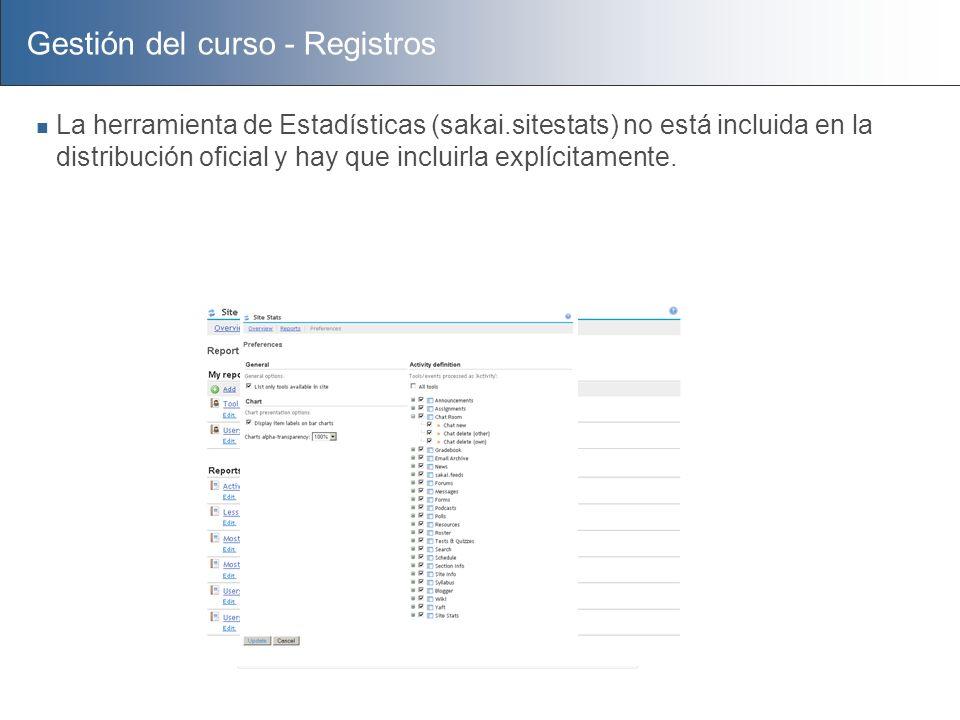 Gestión del curso - Registros