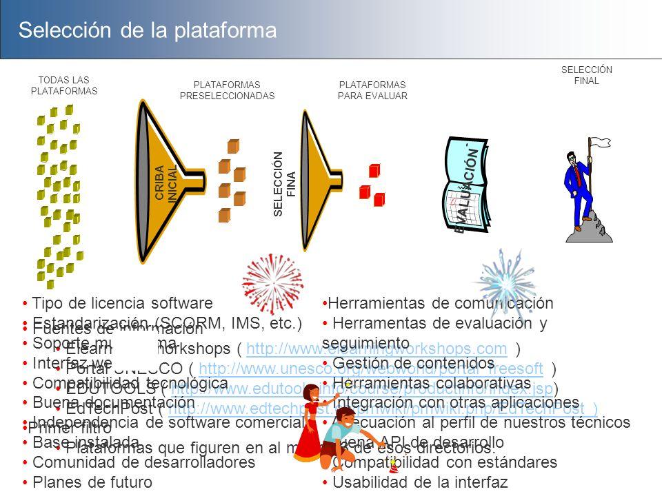 Selección de la plataforma