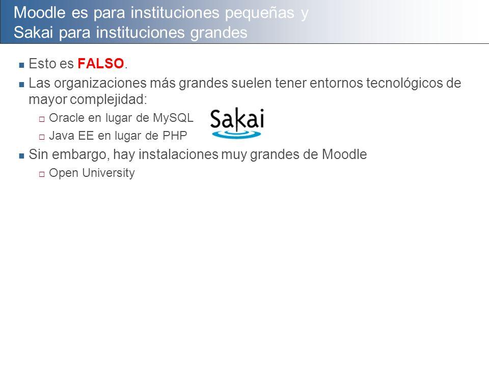 Moodle es para instituciones pequeñas y Sakai para instituciones grandes