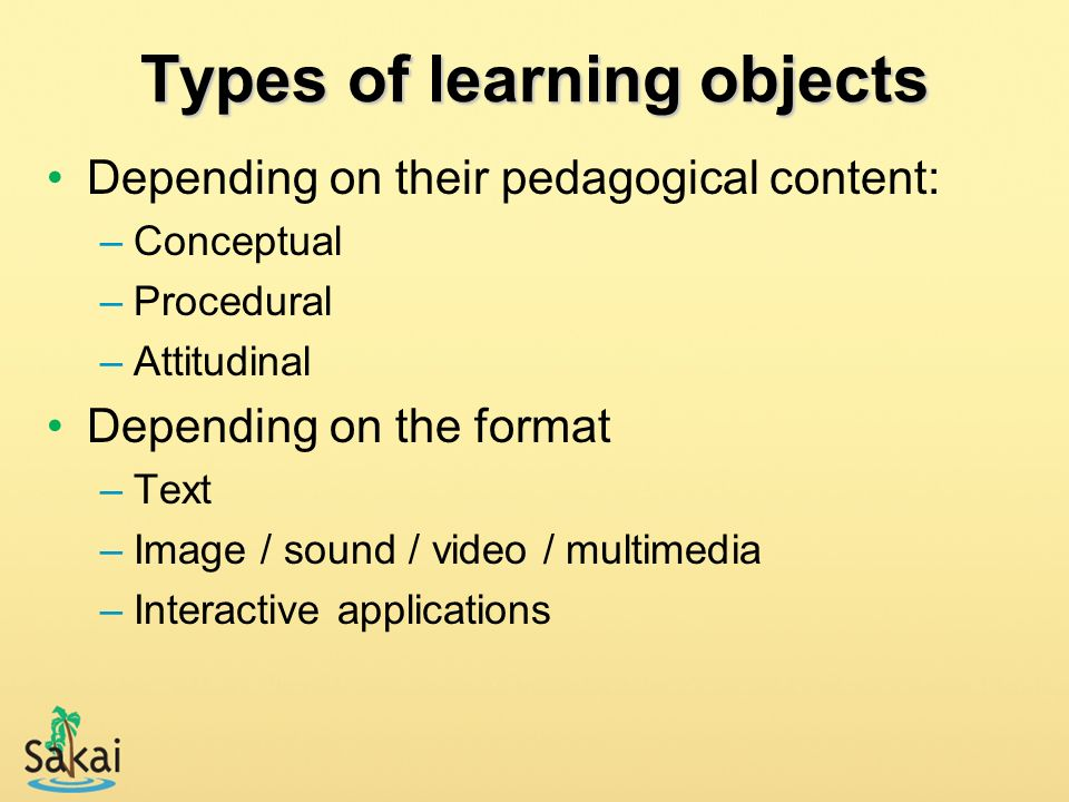 Types of learning objects