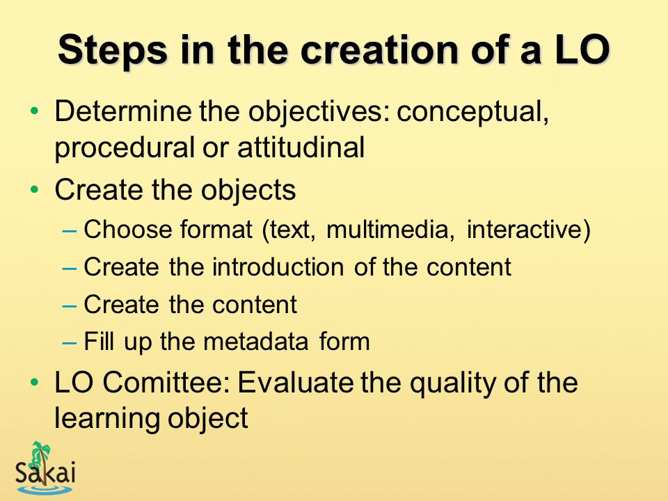 Steps in the creation of a LO