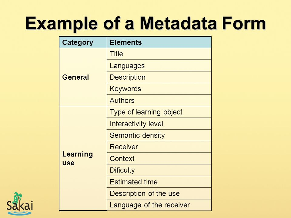 Example of a Metadata Form