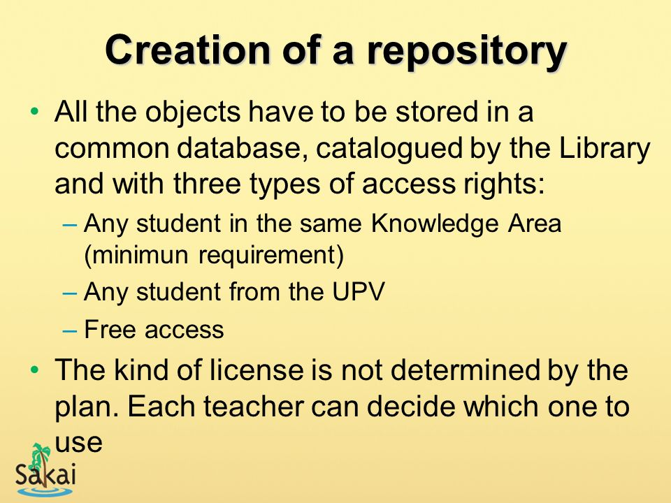 Creation of a repository