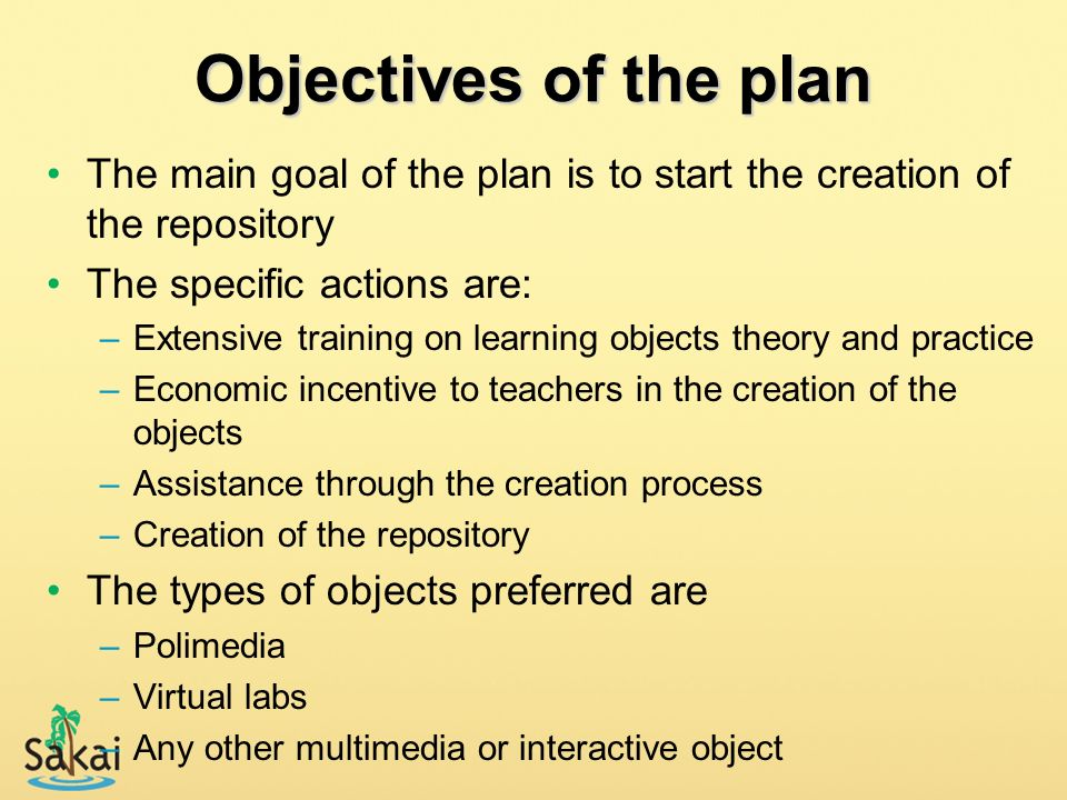 Objectives of the plan The main goal of the plan is to start the creation of the repository. The specific actions are: