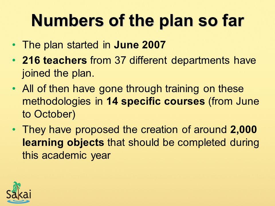Numbers of the plan so far