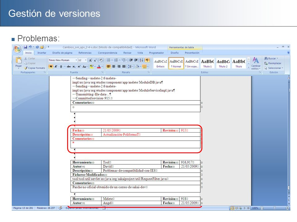 Gestión de versiones Problemas: Documentación