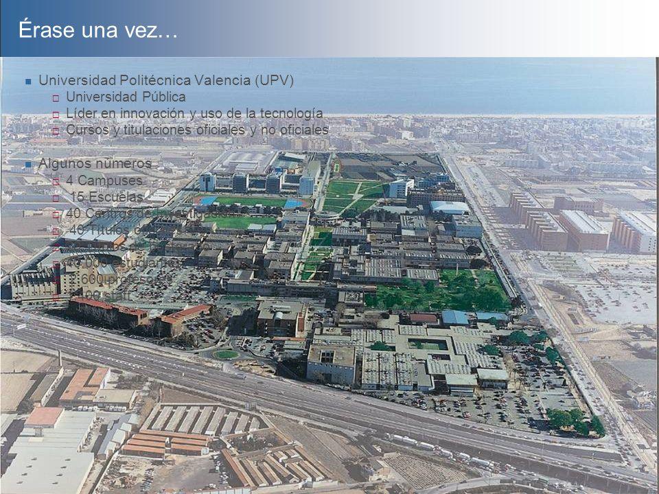 Érase una vez… Universidad Politécnica Valencia (UPV) Algunos números