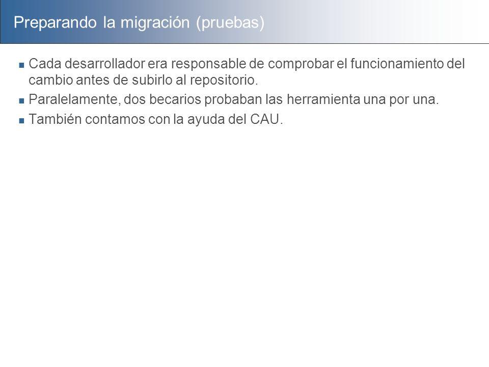 Preparando la migración (pruebas)