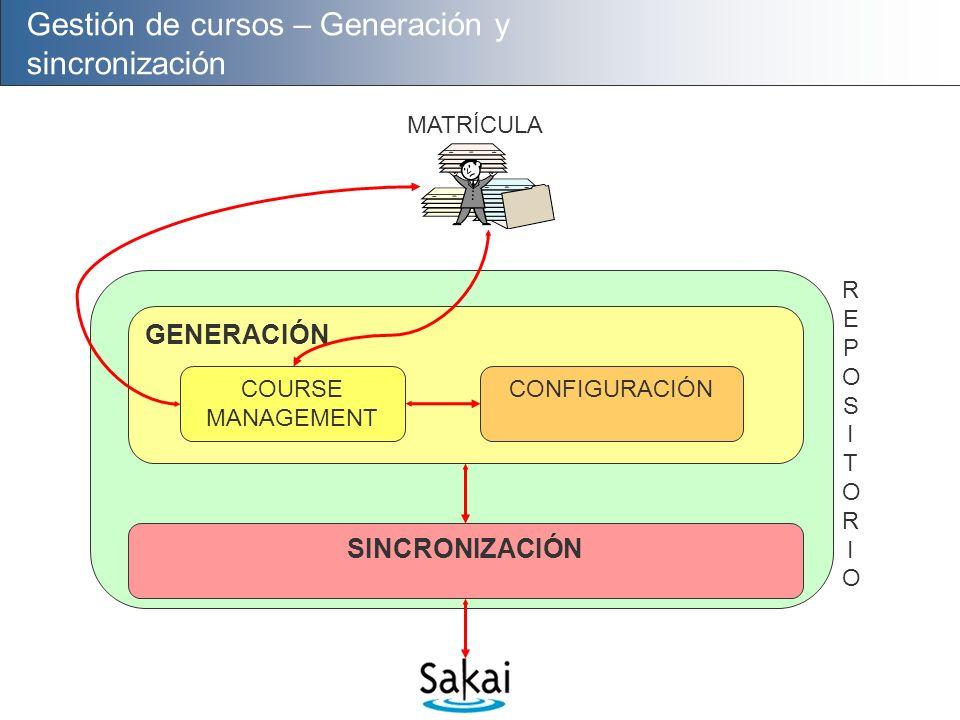 Gestión de cursos – Generación y sincronización