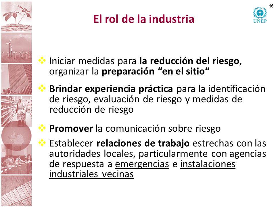 El rol de la industria Iniciar medidas para la reducción del riesgo, organizar la preparación en el sitio