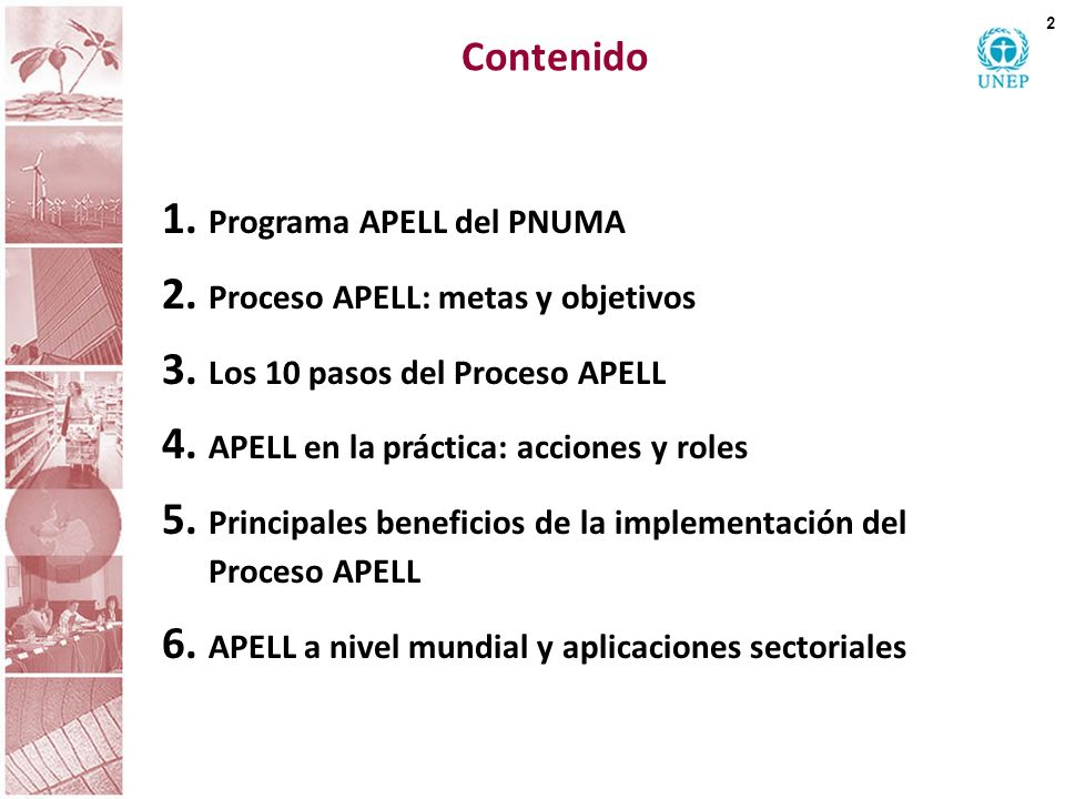 Contenido Programa APELL del PNUMA Proceso APELL: metas y objetivos