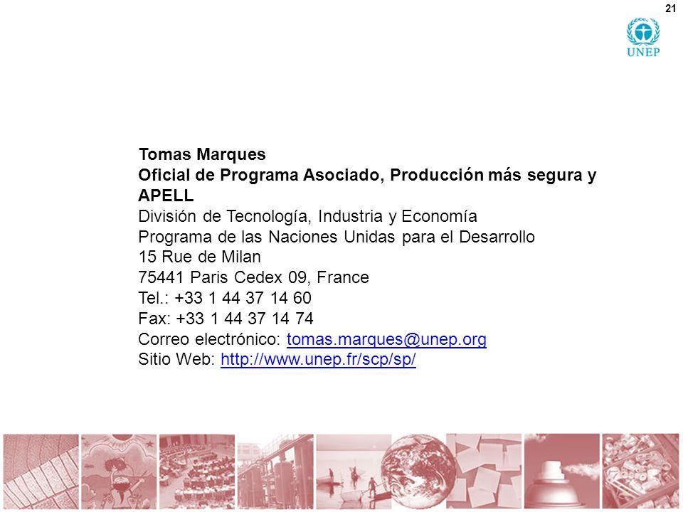 Tomas Marques Oficial de Programa Asociado, Producción más segura y APELL. División de Tecnología, Industria y Economía.