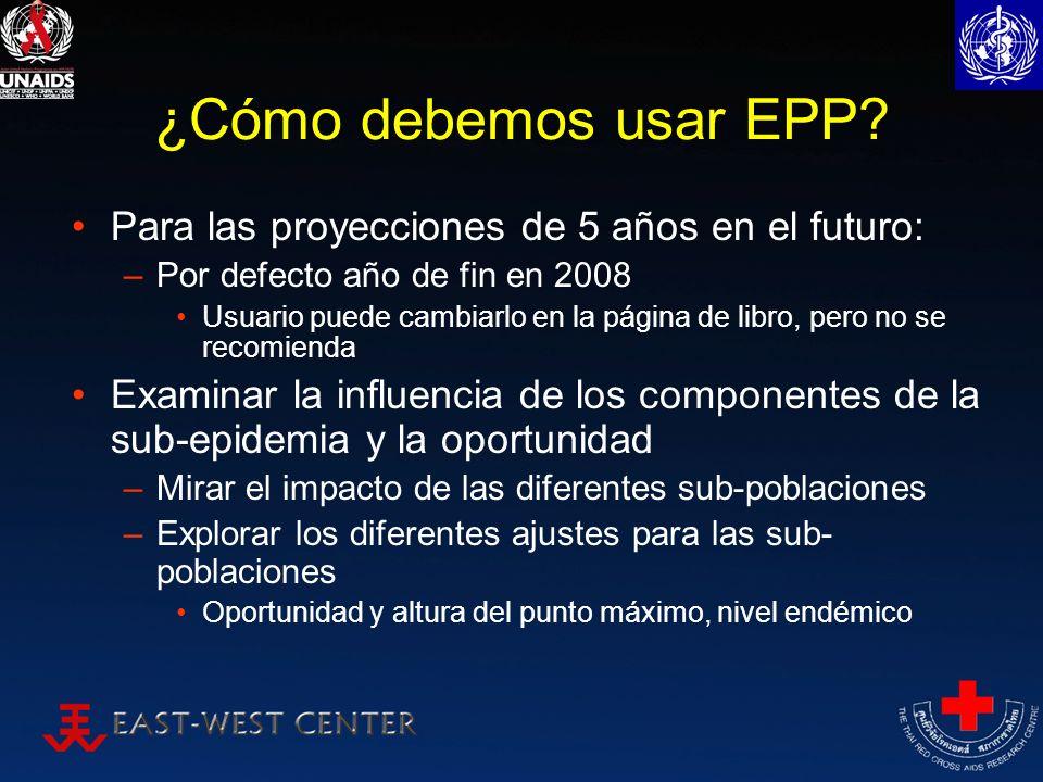 ¿Cómo debemos usar EPP Para las proyecciones de 5 años en el futuro: