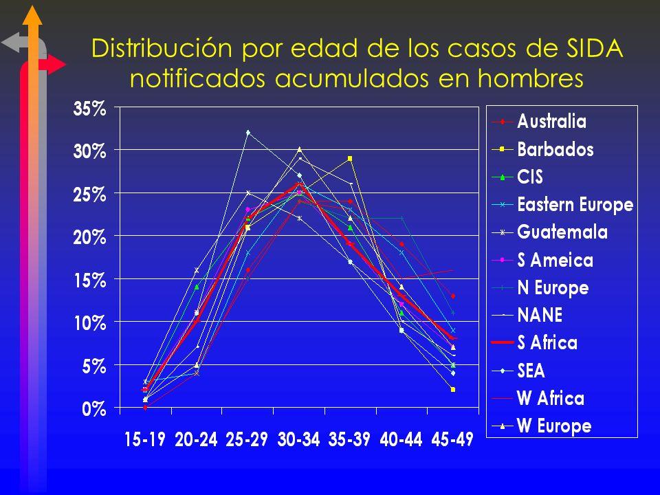 Distribución por edad de los casos de SIDA notificados acumulados en hombres