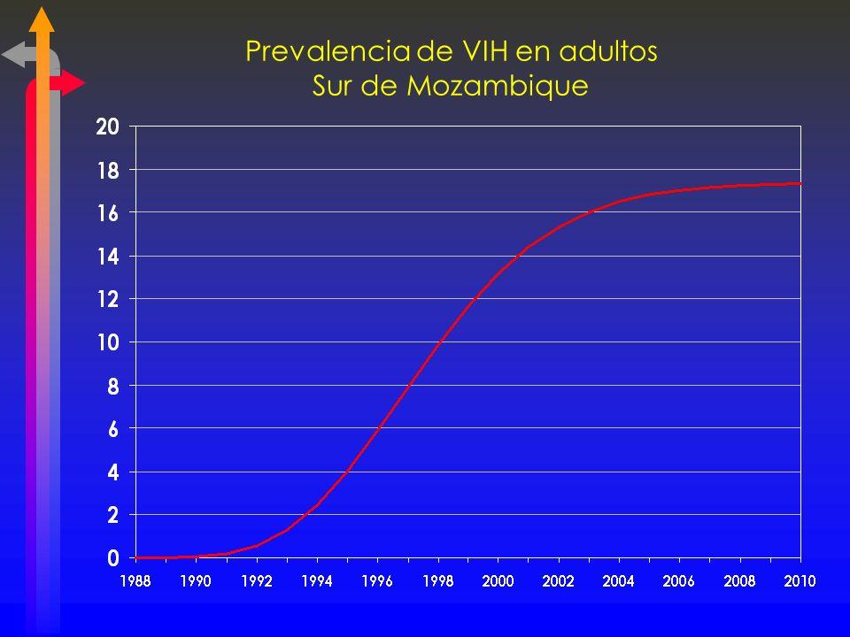 Prevalencia de VIH en adultos Sur de Mozambique