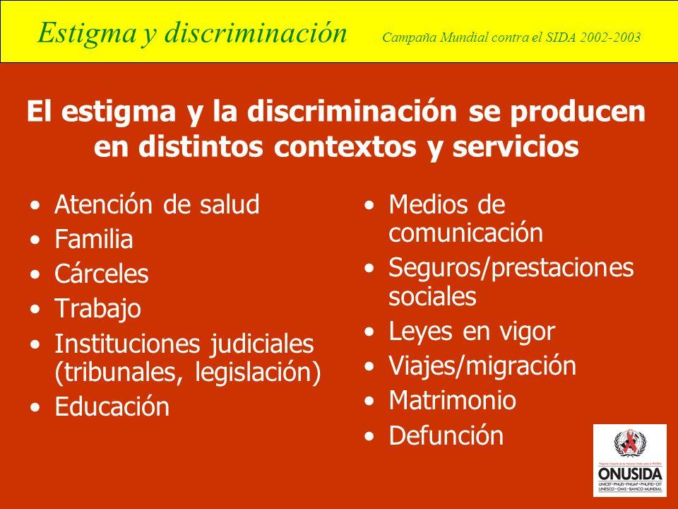 El estigma y la discriminación se producen en distintos contextos y servicios