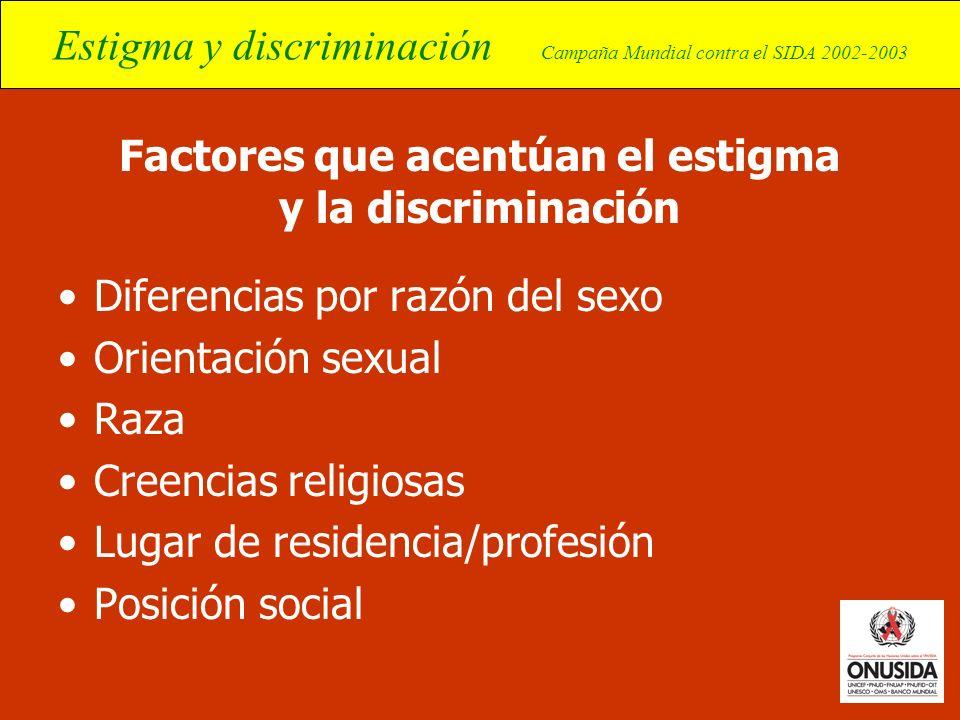 Factores que acentúan el estigma y la discriminación