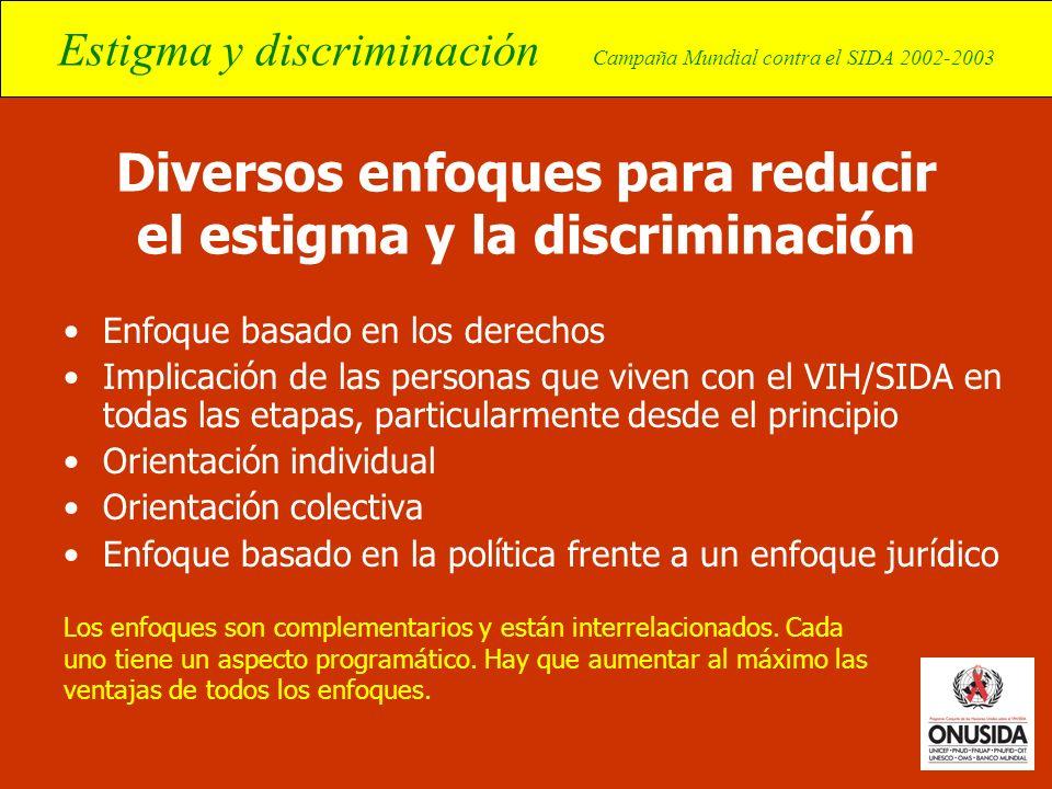 Diversos enfoques para reducir el estigma y la discriminación
