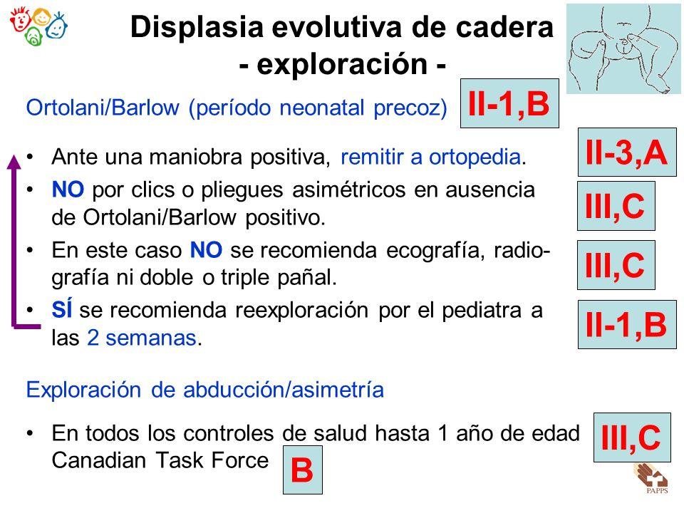 Displasia evolutiva de cadera - exploración -