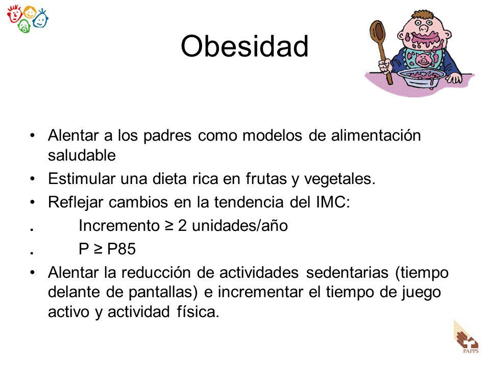 Obesidad Alentar a los padres como modelos de alimentación saludable