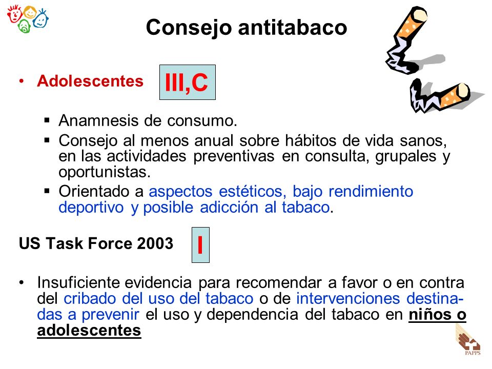 III,C I Consejo antitabaco Adolescentes Anamnesis de consumo.