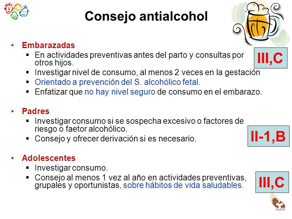 III,C II-1,B III,C Consejo antialcohol Embarazadas