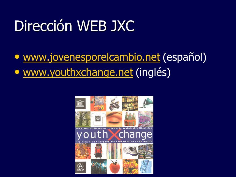 Dirección WEB JXC www.jovenesporelcambio.net (español)
