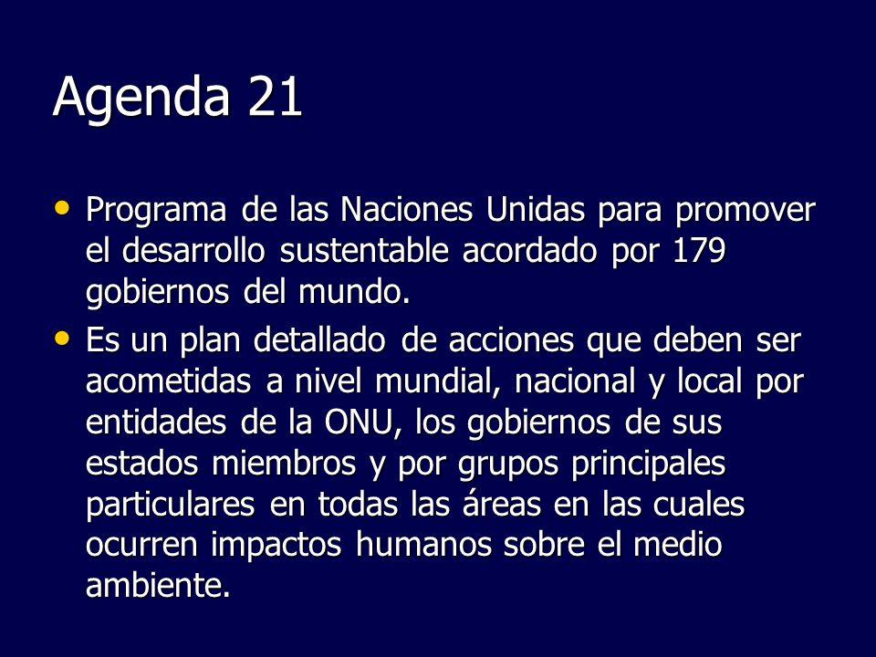Agenda 21Programa de las Naciones Unidas para promover el desarrollo sustentable acordado por 179 gobiernos del mundo.