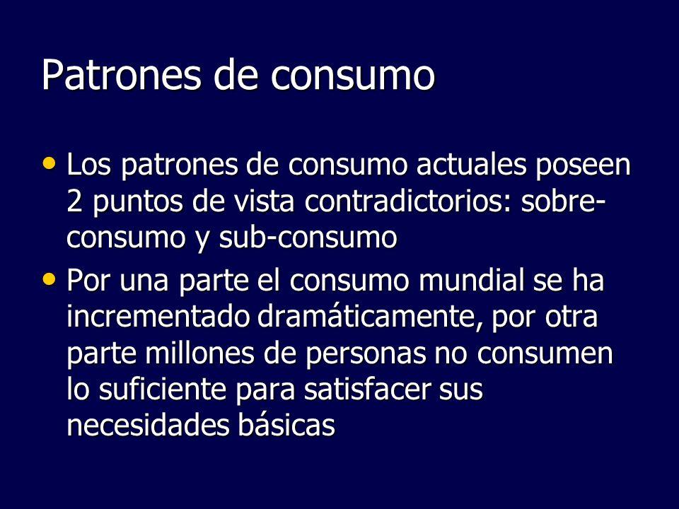 Patrones de consumo Los patrones de consumo actuales poseen 2 puntos de vista contradictorios: sobre-consumo y sub-consumo.